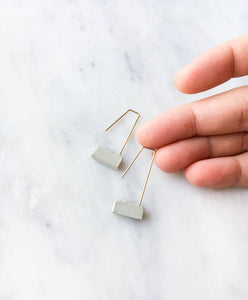 CONCRETE BLOCK DANGLE EARRINGS - RAW