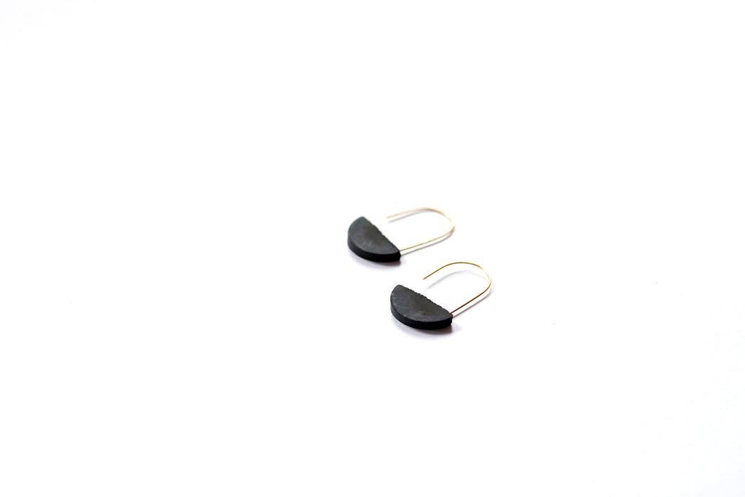 HALF-MOON HOOP EARRINGS - BLACK **SOLD OUT**