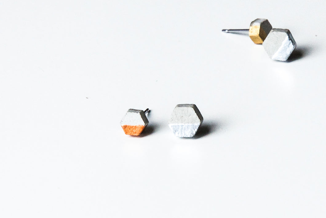 RAW CONCRETE HEXAGON EARRINGS