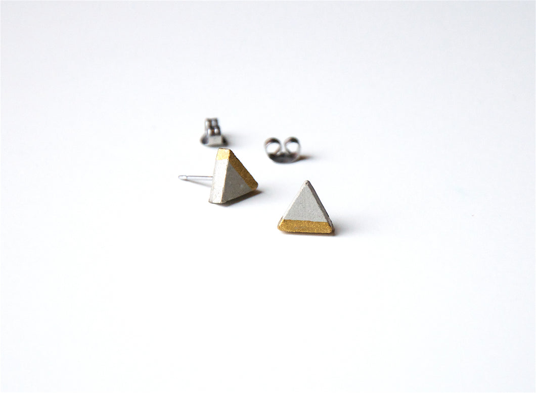 Triangle Concrete Earrings Minimalist Geometric Studs Hypoallergenic