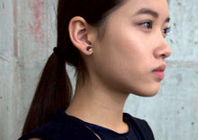 Load image into Gallery viewer, Black Circle Concrete Earrings Gold Dipped Minimalist Studs Hypoallergenic