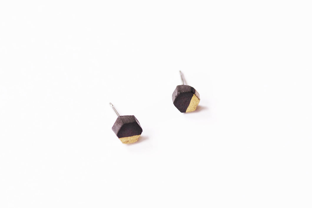 BLACK CONCRETE HEXAGON EARRINGS