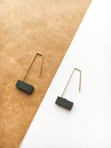 CONCRETE BLOCK DANGLE EARRINGS - BLACK