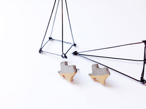 Texas State Concrete Earrings Minimalist Geometric Studs Hypoallergenic