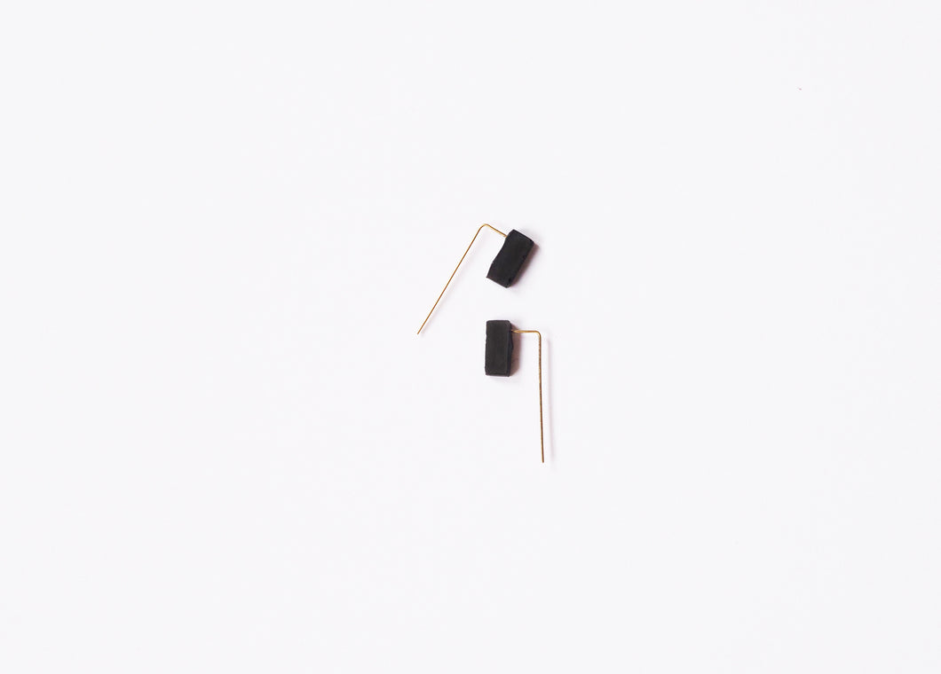 Reversible Concrete Block Threader Earrings Architectural Industrial Minimalist Ear Threaders Gold cement earrings minimal hypoallergenic