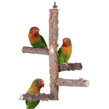 Load image into Gallery viewer, Pet Parrot Stand 4 Layer Stages Toys Natural Wood Rotating Ladder Bird Parakeet Cage Bird Bite Toy Parrot Stand Plateform