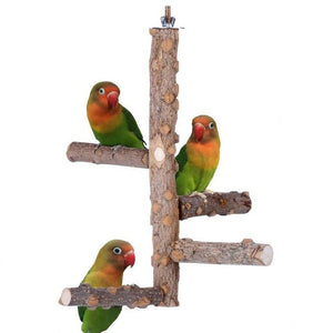 Pet Parrot Stand 4 Layer Stages Toys Natural Wood Rotating Ladder Bird Parakeet Cage Bird Bite Toy Parrot Stand Plateform