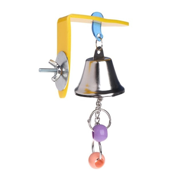 Parrot Bell Toys Birds Chewing Hanging Swing Cage Toy Bite Accessories Parakeet Beads Cockatiel Play Toy Pet Bird Supplies C42