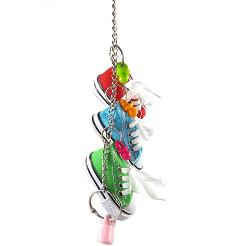 Mini Canvas Shoes Parrot Bird Toys Pet Bird Shoe Cage Decoration Standing Climbing Toy Parrot Bird Cage Pet Shoes Parrot Toys