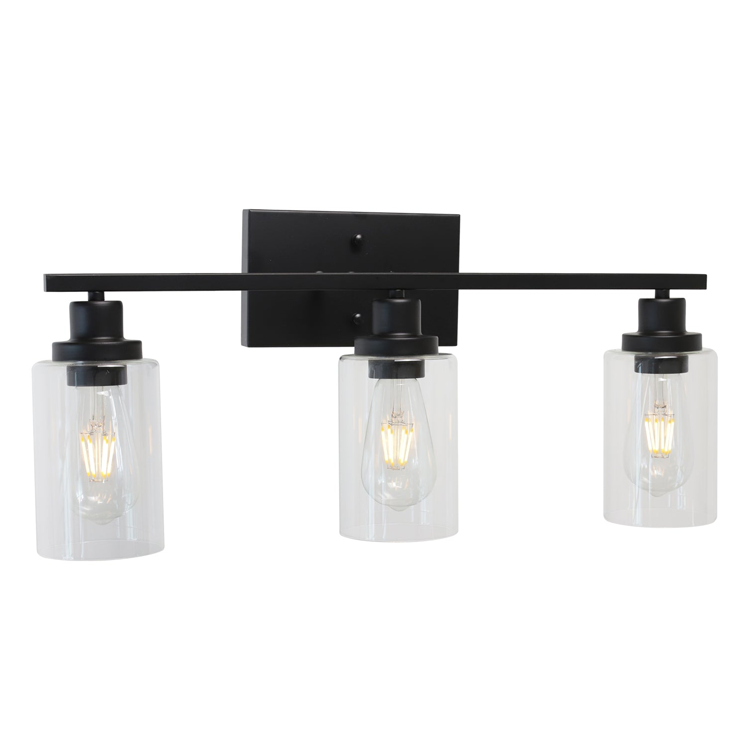 Bathroom Vanity Light Fixtures 3 Lights Wall Sconce Black With Clear Glass Shade Bonlicht Lighting