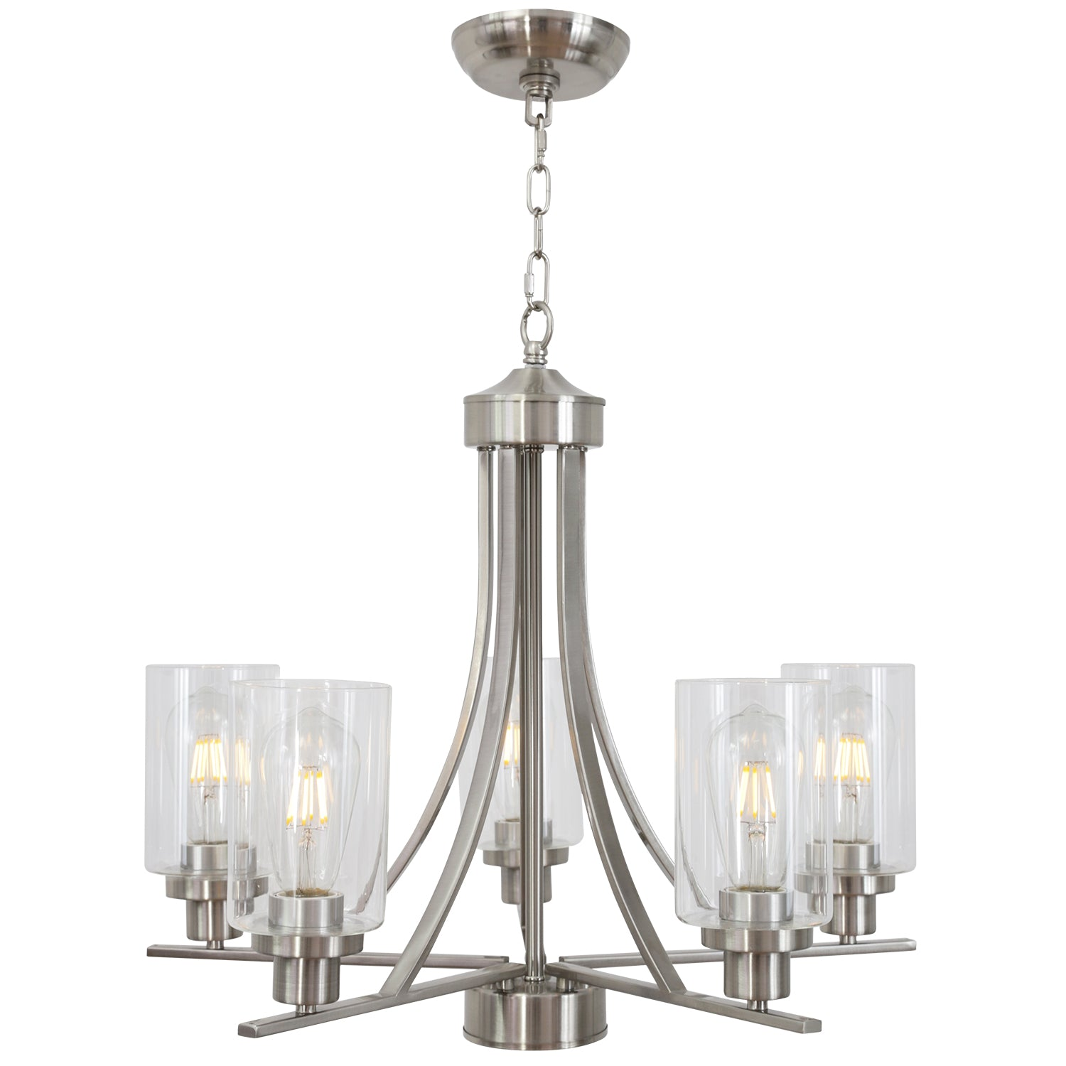 Bonlicht Chandelier Lighting 5 Light Brushed Nickel With Clear Glass Shade