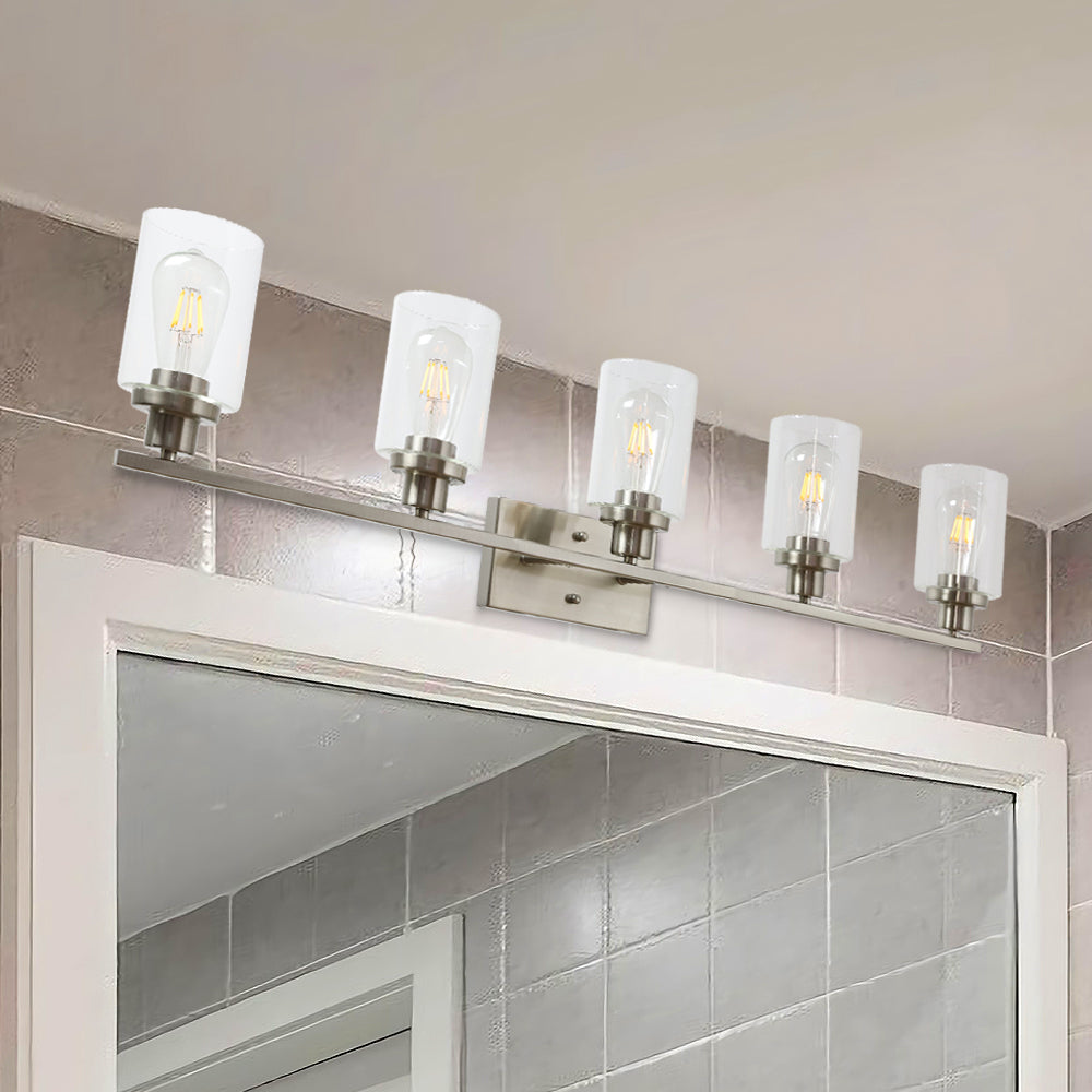 5 Light Bathroom Vanity Light Brushed Nickel Wall Sconce Modern Light Fixtures Wall Mount With Clear Glass Shade Bonlicht Lighting