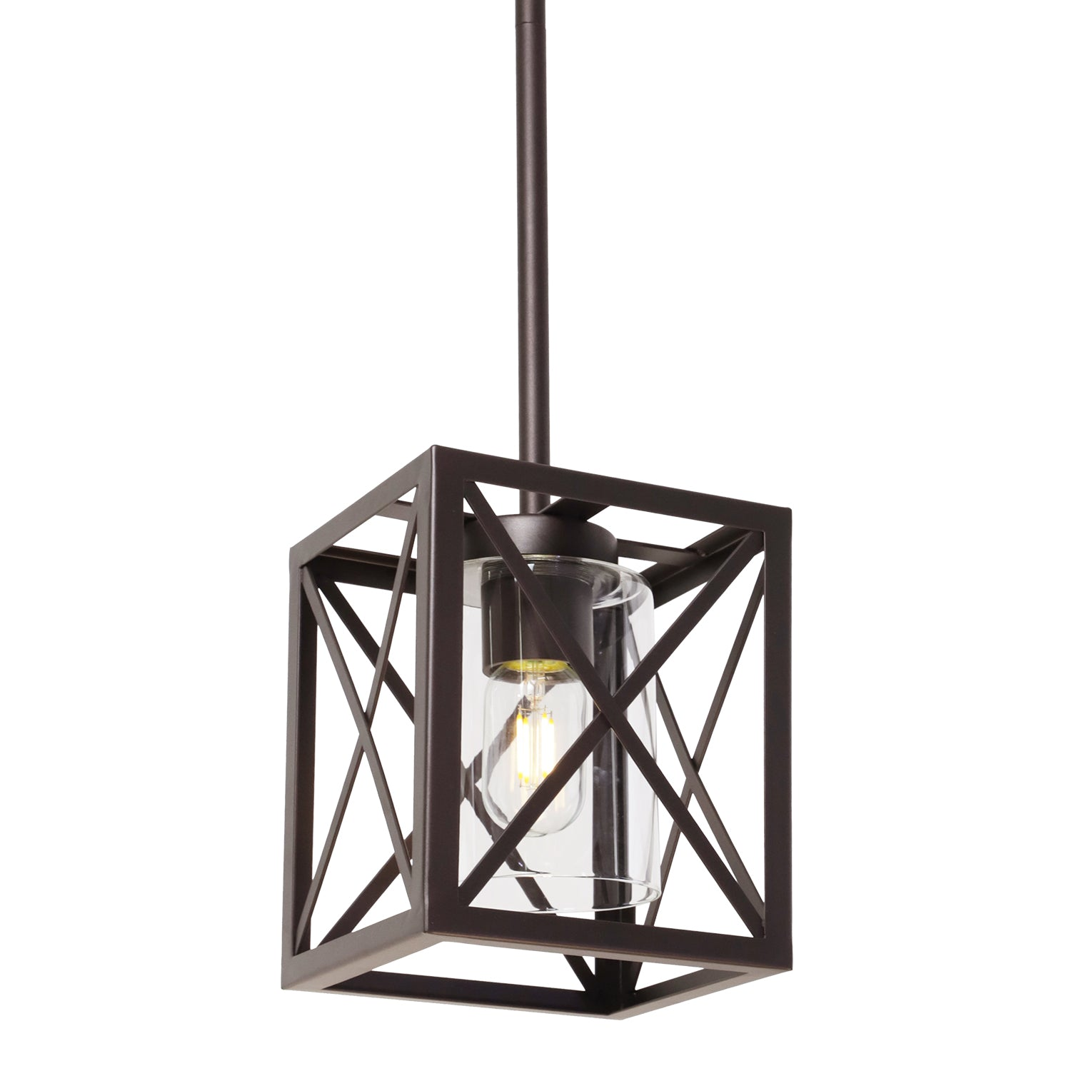 Pendant Lighting For Kitchen Island Farmhouse Dining Room Light Rustic Chandelier Metal Oil Rubbed Bronze 1 Light With Clear Glass Shade Bonlicht Lighting