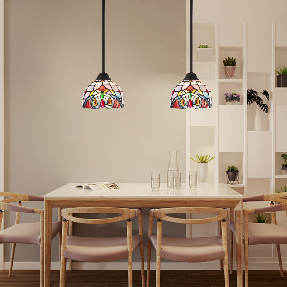 Bonlicht Mini Pendant Lights 1 Light Tiffany Light Fixtures Ceiling Hanging With 7 5 Inches Stained Glass Shade