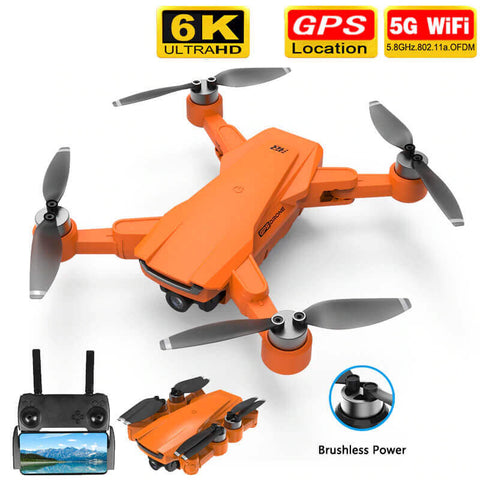 Foldable 6K Long Range 5G GPS Foldable Drone (Orange or Black)