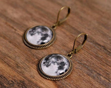 Load image into Gallery viewer, Full moon earrings, dangle earrings, glass dome earrings, antique brass earrings, antique bronze earrings, leverback earrings, jewelry gift