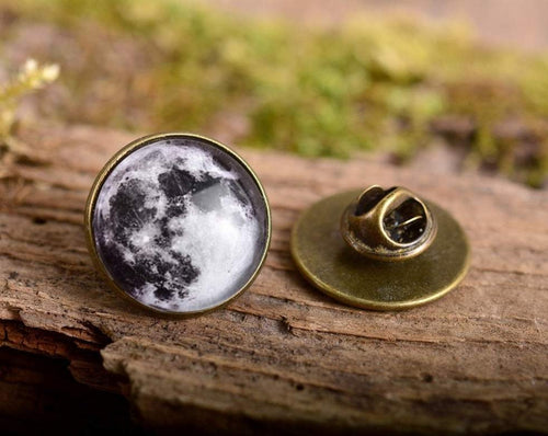 Lapel pin - Full moon lapel pin, moon pin, full moon brooch, glass dome lapel pin, antique brass lapel pin, galaxy lapel pin