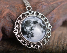 Load image into Gallery viewer, Full moon pendant, full moon necklace, moon necklace, silver plated pendant, glass pendant, antique silver necklace, glass dome necklace