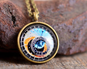 Astronomical clock necklace, Prague clock necklace, glass pendant, Prague clock pendant, brass necklace, glass necklace, steampunk necklace
