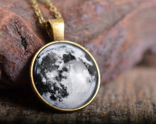 Load image into Gallery viewer, Full moon necklace, galaxy necklace, moon necklace, antique brass pendant, space necklace, antique brass necklace, glass dome necklace