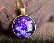 Load image into Gallery viewer, Galaxy necklace, space necklace, nebula necklace, sky necklace, galaxy jewelry, space jewelry, galaxy pendant, space pendant, stars necklace