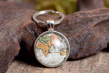 Load image into Gallery viewer, Antique map keychain, travel gift, gift for men, gift for brother, gift for husband, gift for father, gift for him, traveler gift, key chain
