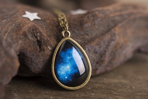Galaxy necklace, gift women, birthday gift for her, space necklace, milky way jewelry, tear drop necklace, galaxy jewelry, space jewelry