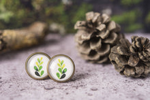 Load image into Gallery viewer, Set of three stud earrings, leaf earrings, leaf jewelry, nature earrings, birthday gift for her, girlfriend gift, gift for women, watercolor