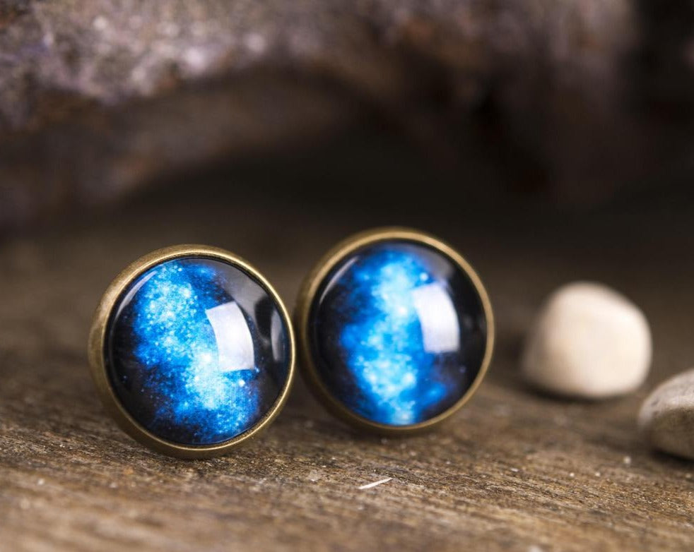Galaxy earrings, space earrings, universe earrings, cosmos earrings, nebula earrings, stud earrings, post earrings, galaxy jewelry