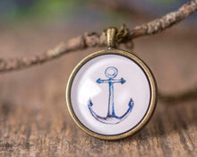 Load image into Gallery viewer, Anchor necklace, nautical necklace, sailor necklace, sea necklace, watercolor necklace, anchor jewelry necklace, nautical jewelry