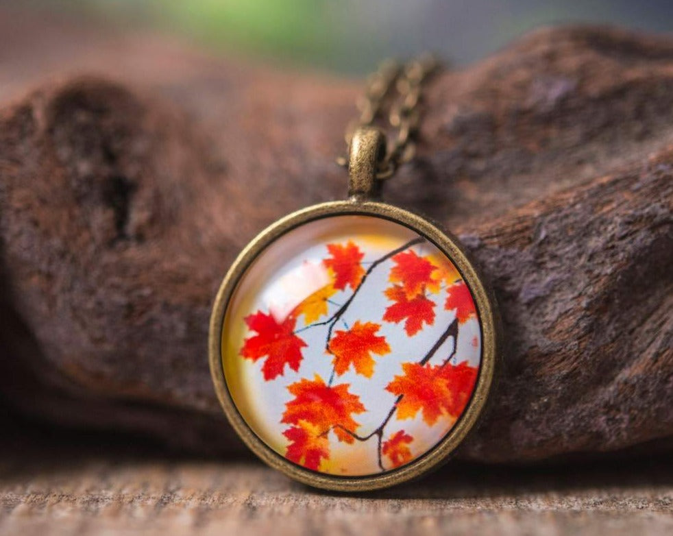 Autumn necklace, orange necklace, autumn pendant, fall necklace, autumn jewelry, nature necklace, autumn leaves necklace, fall leaves
