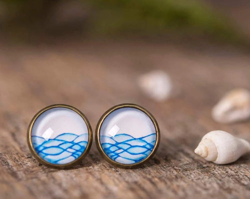 Water earrings, wave earrings, sea earrings, ocean earrings, post earrings, stud earrings, water jewelry, wave jewelry, nature earrings