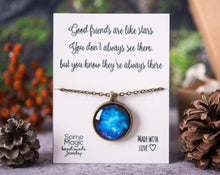 Load image into Gallery viewer, Space necklace, best friend gift, birthday gift, gift for women, space jewelry, best friend necklace, friend gift, motivational gift