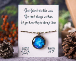 Space necklace, best friend gift, birthday gift, gift for women, space jewelry, best friend necklace, friend gift, motivational gift