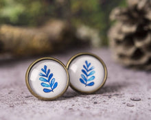 Load image into Gallery viewer, Leaf earrings, blue leaf earrings, leaf stud earrings, post earrings, stud earrings, leaf jewelry, nature earrings, watercolor earrings