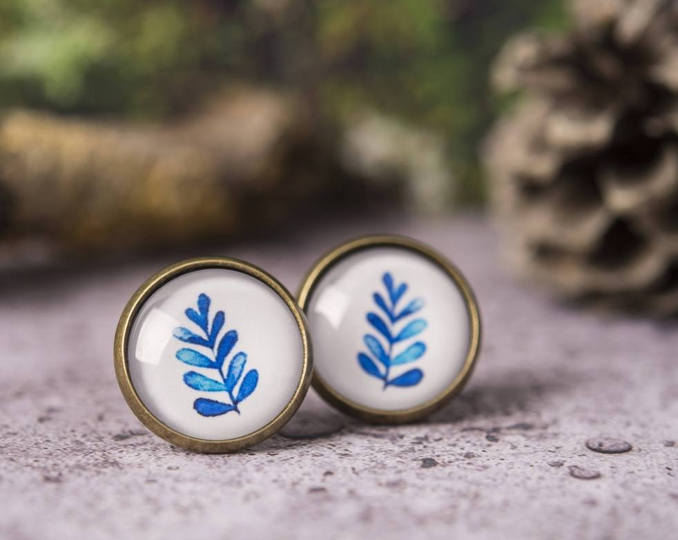Leaf earrings, blue leaf earrings, leaf stud earrings, post earrings, stud earrings, leaf jewelry, nature earrings, watercolor earrings