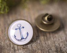 Load image into Gallery viewer, Lapel pin, anchor pin, gift for men, men gift, anchor brooch, antique brass lapel pin, anchor lapel pin, nautical lapel pin