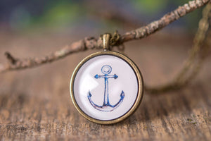 Anchor necklace, nautical necklace, sailor necklace, sea necklace, watercolor necklace, anchor jewelry necklace, nautical jewelry
