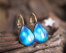 Load image into Gallery viewer, Aurora borealis earrings, northern lights earrings, arctic sky earrings, galaxy earrings, tear drop earrings, dangle earrings, drop earrings