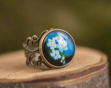 Load image into Gallery viewer, Forget me not ring, statement ring, adjustable ring, blue jewelry, gift for women, birthday gift for her, gift women, girlfriend gift