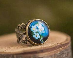 Forget me not ring, statement ring, adjustable ring, blue jewelry, gift for women, birthday gift for her, gift women, girlfriend gift
