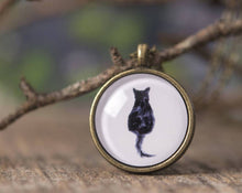 Load image into Gallery viewer, Cat necklace, black cat necklace, cat jewelry, black cat jewelry, cat shape necklace, black cat silhouette, watercolor cat necklace