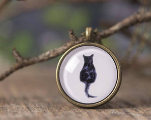 Cat necklace, black cat necklace, cat jewelry, black cat jewelry, cat shape necklace, black cat silhouette, watercolor cat necklace