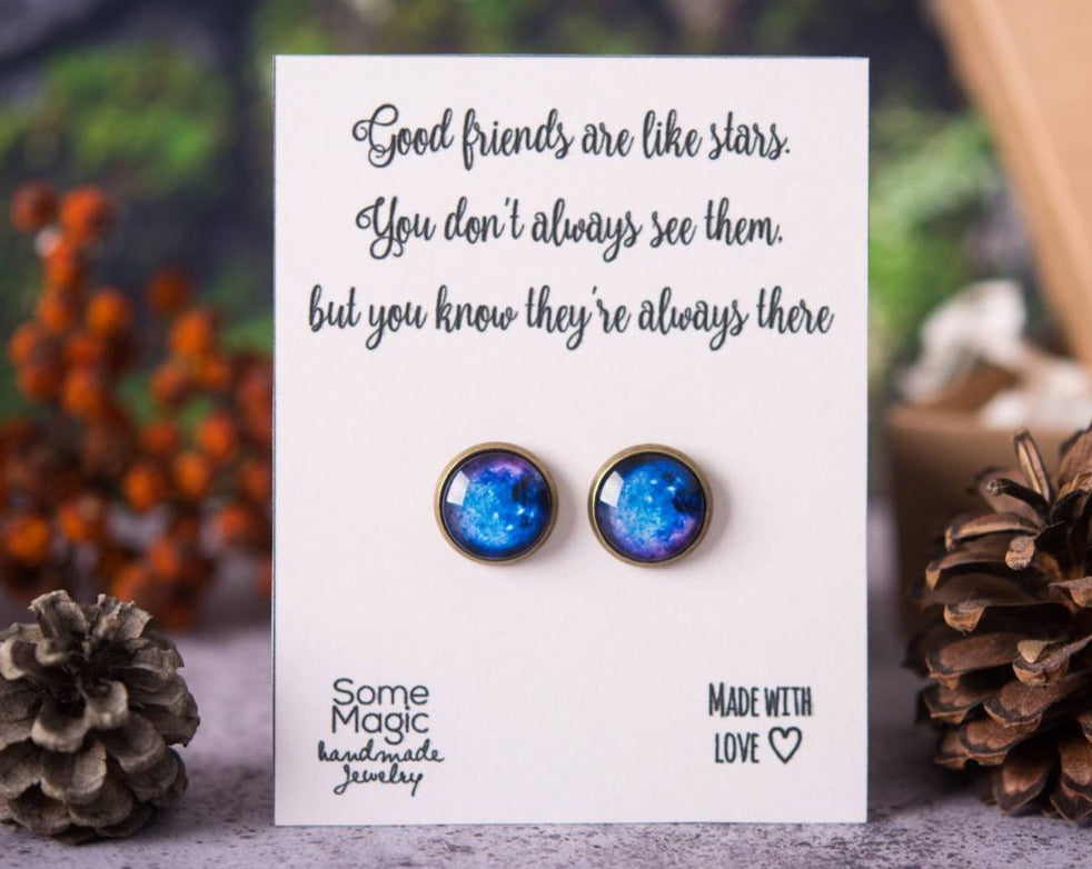 Space earrings, best friend gift, meaningful gift, gift for women, birthday gift for her, friend jewelry, good friends are like stars