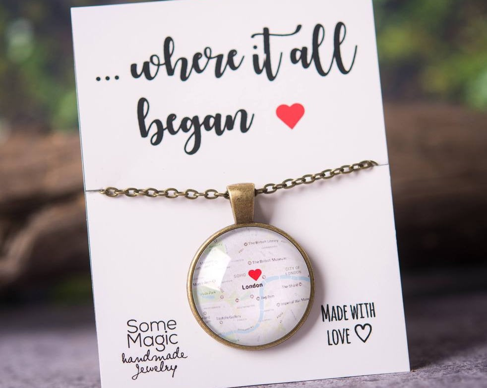 Personalized map gift, personalized jewelry, girlfriend gift, gift for wife, gift for women, personalized necklace, anniversary gift for her