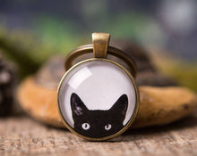 Load image into Gallery viewer, Peeking cat key chain, cat keychain, girlfriend gift, gift for women, gift for her, gift for sister, gift for mom, best friend gift