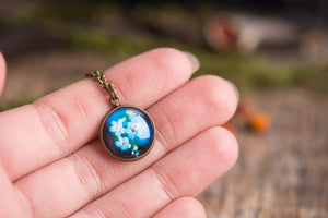 Tiny forget me not necklace, blue jewelry, gift women, gift for women, birthday gift for her, sister gift, gift for mom, girlfriend gift