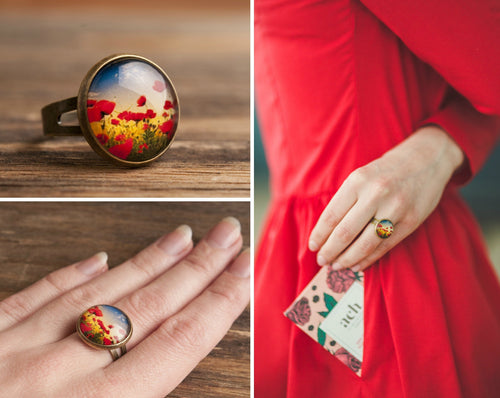 Poppies ring, gift for women, birthday gift for her, gift for sister, girlfriend gift, adjustable ring, red ring, statement ring