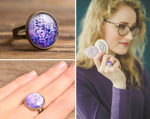 Purple lavender ring, adjustable ring, statement ring, summer jewelry, gift for women, birthday gift for her, girlfriend gift, anniversary