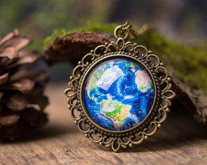 Planet Earth necklace, Earth pendant, gift for women, sister gift, gift for mom, daughter gift, birthday gift for her, best friend gift